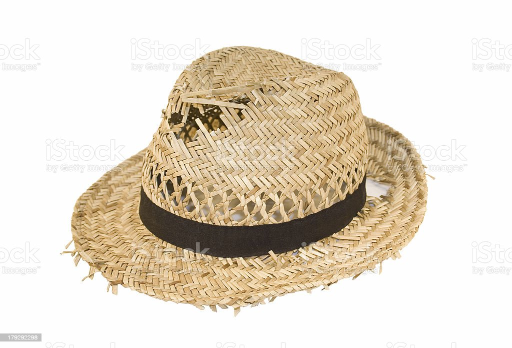 Tatty old straw hat stock photo
