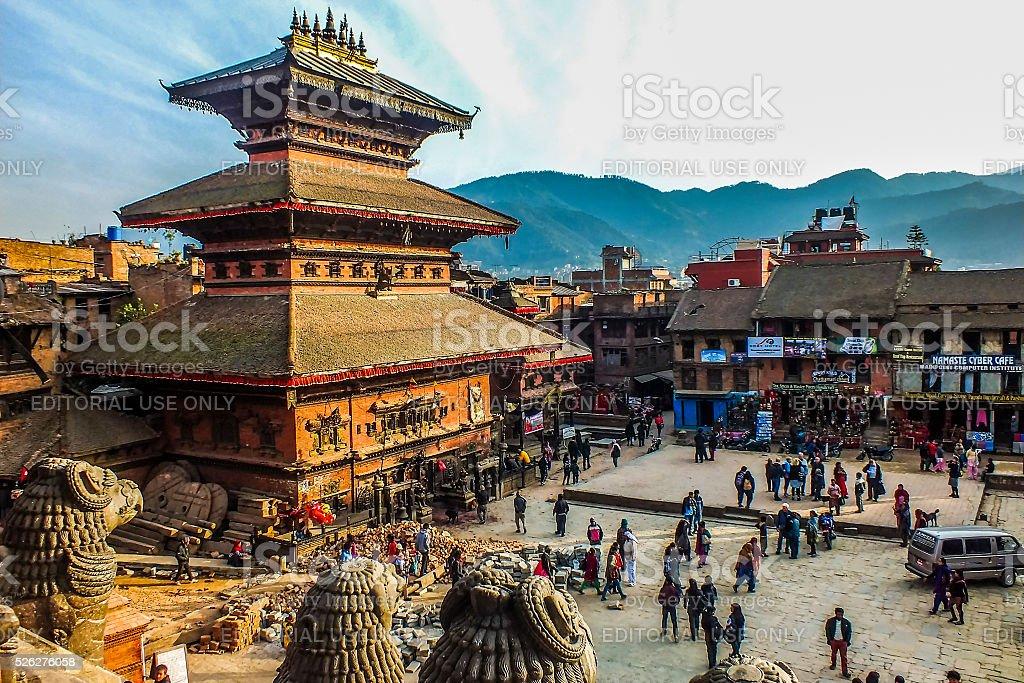 Taumadhi Square, Bhaktapur, Nepal seen from the Nyatapola Pagoda stock photo