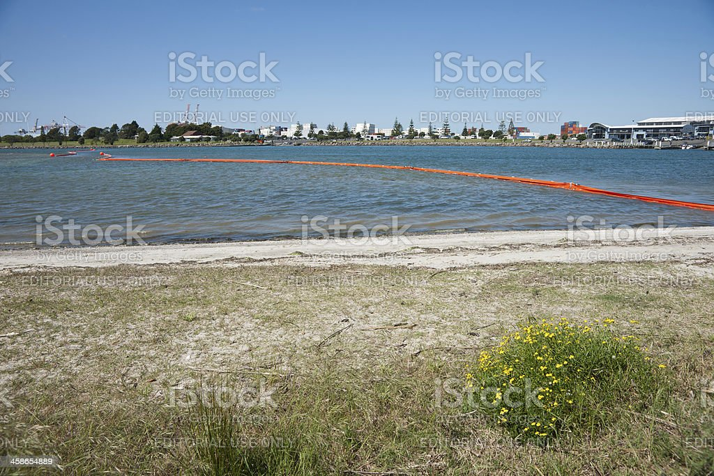 Tauranga Harbour beach with oil boom. royalty-free stock photo