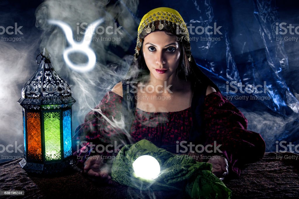 Taurus Horoscope Zodiac Sign with Psychic or Fortune Teller stock photo