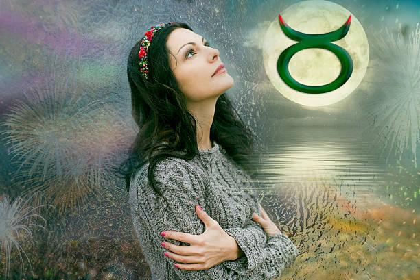 taurus, the woman in astrology - boğa hayvan stok fotoğraflar ve resimler