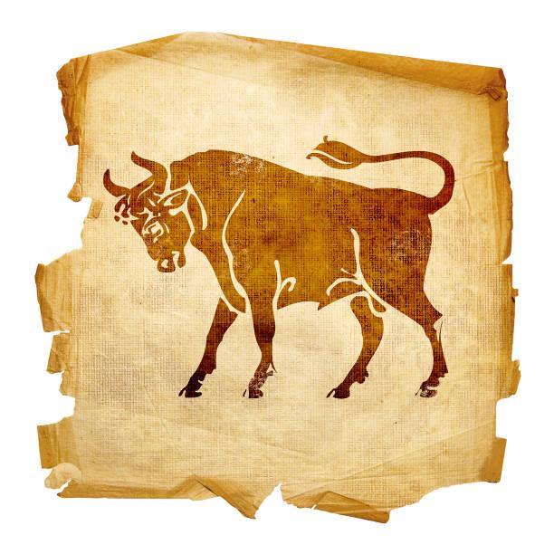 Stier Tierkreis alt, isoliert auf weißem Hintergrund. – Foto
