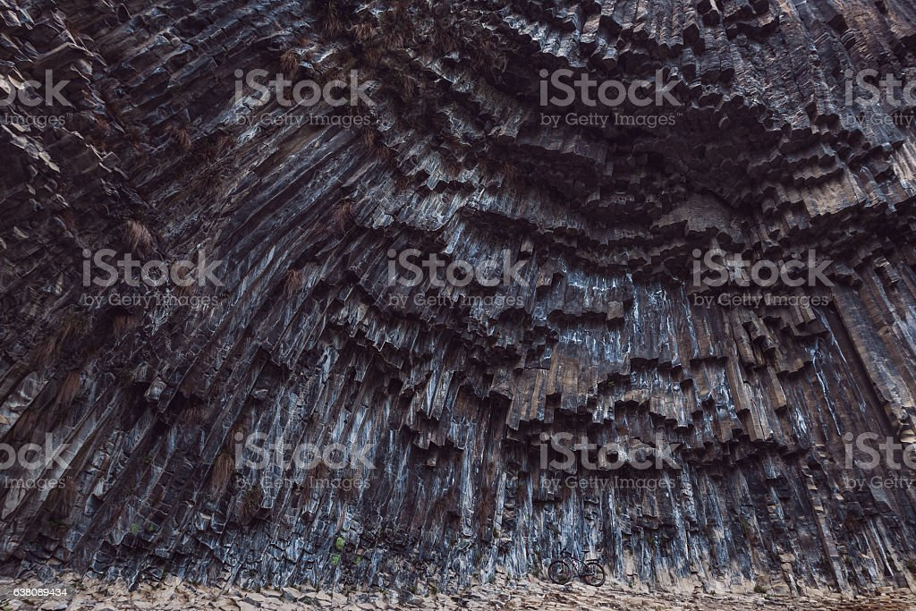 Tavel by bike in canyon Stones Symphony in Armenia stock photo