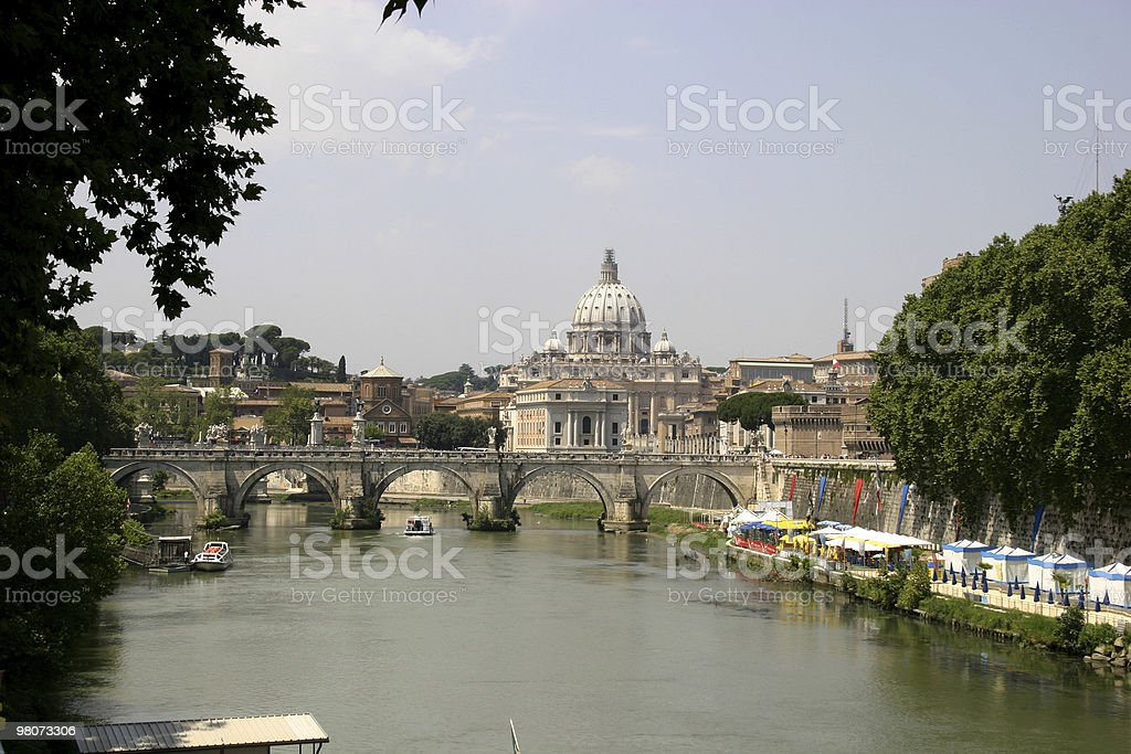 Tavere River and St. Peter's Basilica royalty-free stock photo