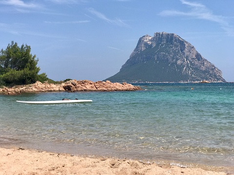 A spectacle of nature in front of the Costa Smeralda in Sardinia. Tavolara Island, a protected marine park of inestimable beauty.