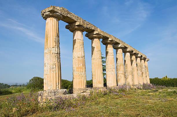 tavole palatine.  metaponto.  basilicate.  l'italie. - palais buccal photos et images de collection