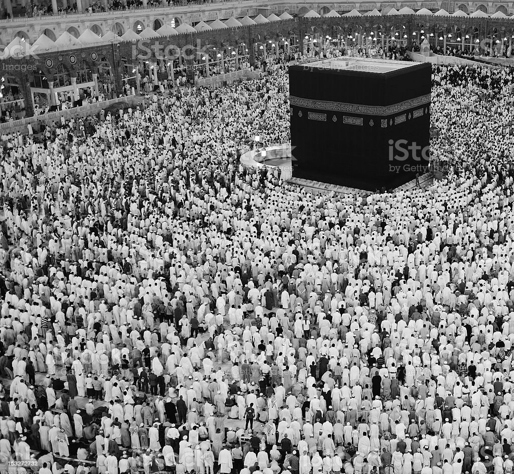 Tawaf Umrah in black and white royalty-free stock photo