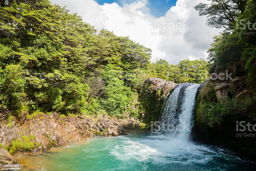 Tawhai Falls in New Zealand stock photo