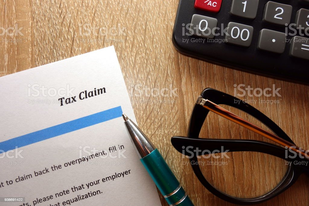 Tax claim document for filling stock photo