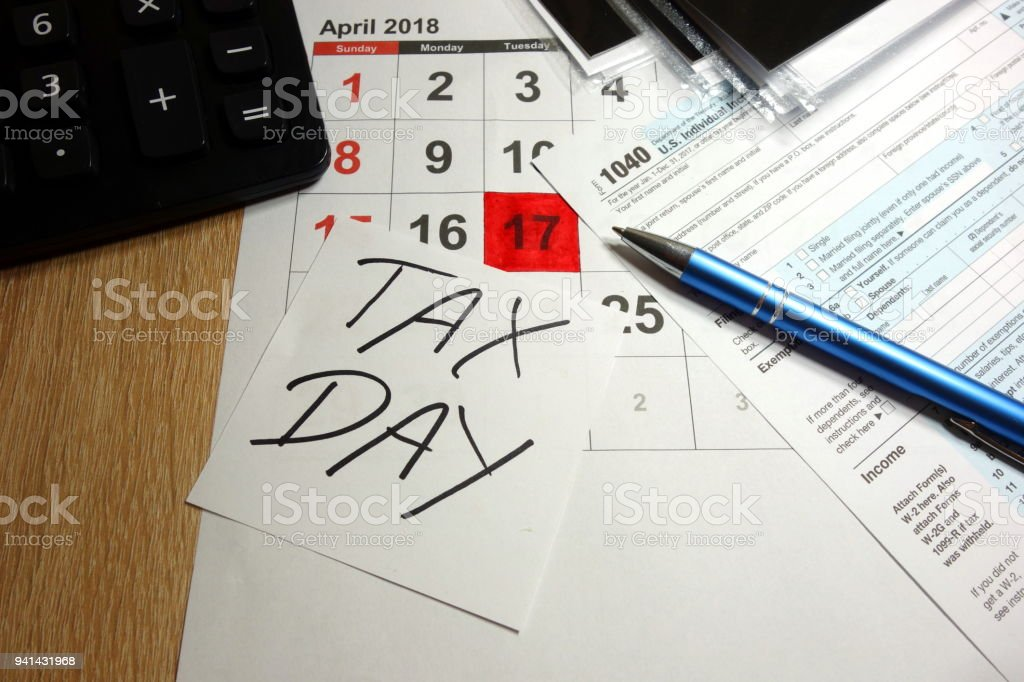 Tax day 2018 stock photo