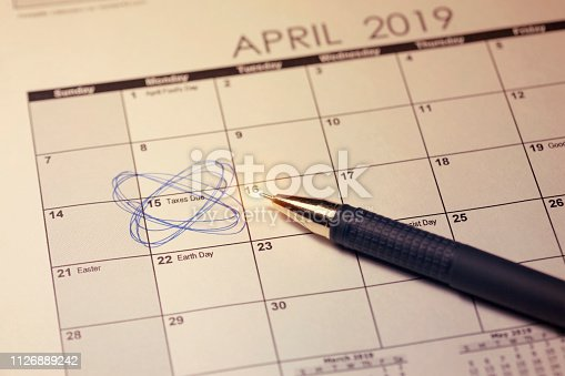 947260978 istock photo Tax Day 2019 in United States of America. Toned image. 1126889242