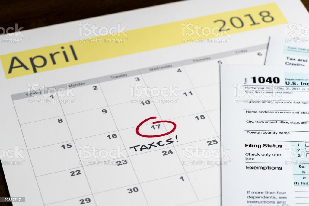 Tax day for 2017 returns is April 17, 2018 stock photo