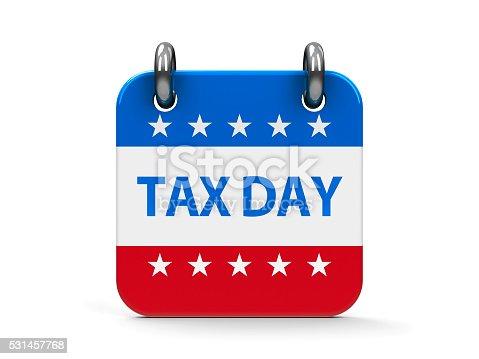 Tax day calendar icon as american flag, three-dimensional rendering