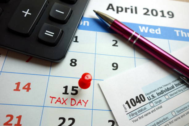 Tax day marked on April 2019 monthly calendar stock photo
