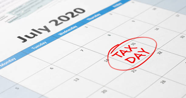 Tax day on July 15 stock photo