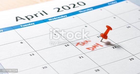 istock Tax day pinned on calendar 1211187224
