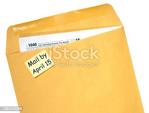 istock Tax Day reminder for April 15 on envelope 1091015066