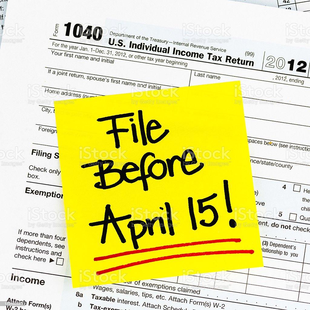 Tax Deadline April 15 royalty-free stock photo