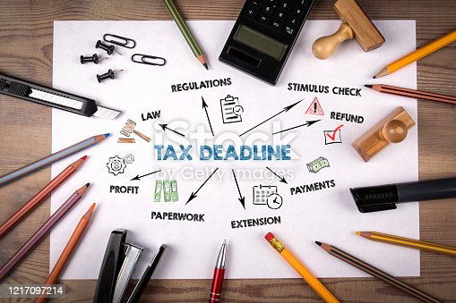 1185240988 istock photo Tax Deadline. Regulations, Stimulus Check, Payments and Profit concept 1217097214