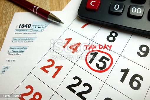 istock USA tax due date marked on calendar 1125133339
