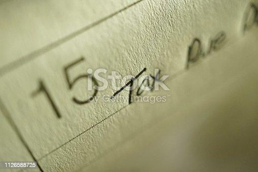 shot of tax due date on calendar
