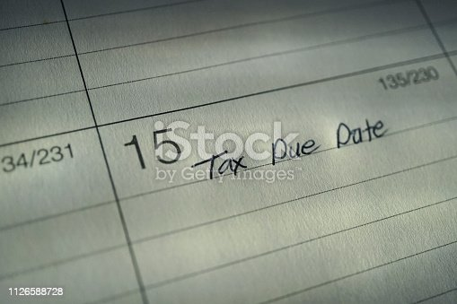 shot of tax due date on calendar