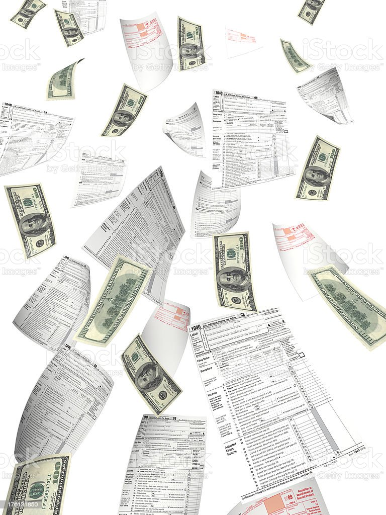 Tax Files Flying royalty-free stock photo