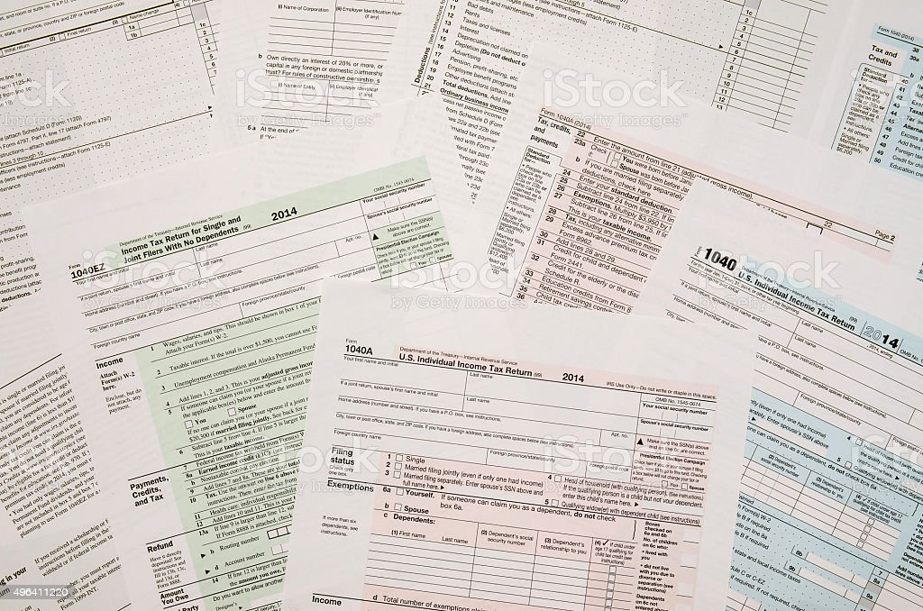 Tax Form 1040, close-up stock photo