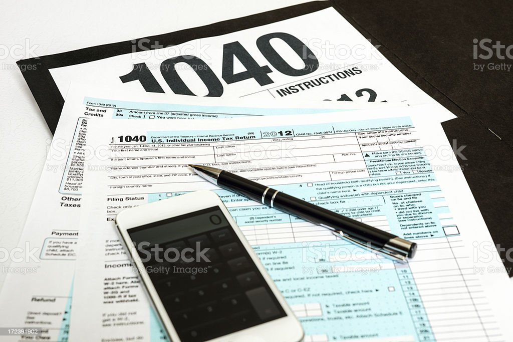Tax Form 1040 for 2012 royalty-free stock photo