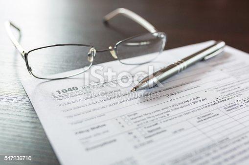 istock Tax form 1040 for individual tax return 547236710