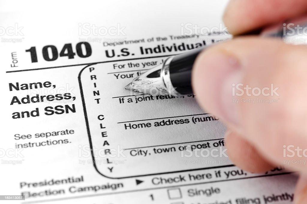 Tax Form 1040 stock photo