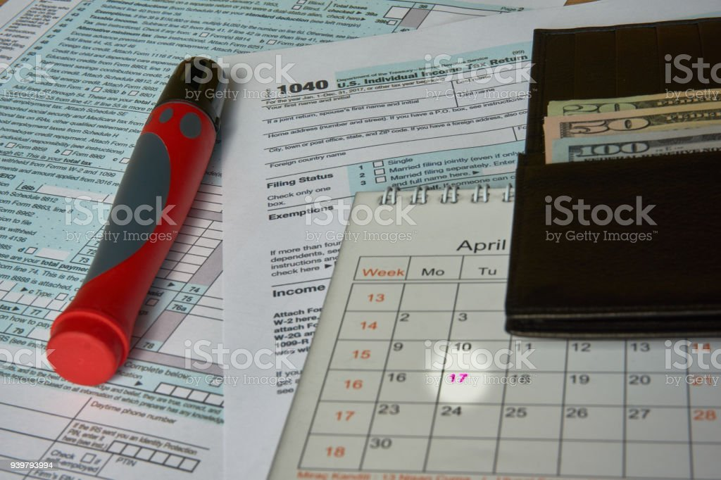 Tax Form 1040 stock photo