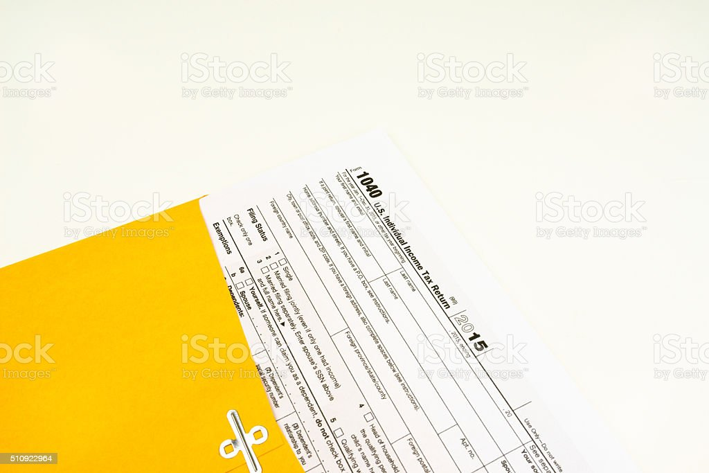 Tax Form 1040 Tax Form Details With Light Background Stock Photo