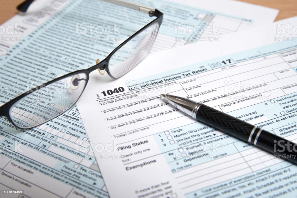 Usa Tax Form 1040 With Glasses And Pen Stock Photo More Pictures