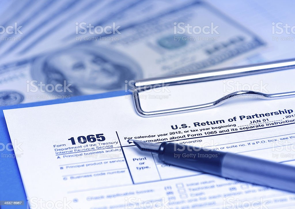 IRS tax form 1065 - Partnership income return royalty-free stock photo