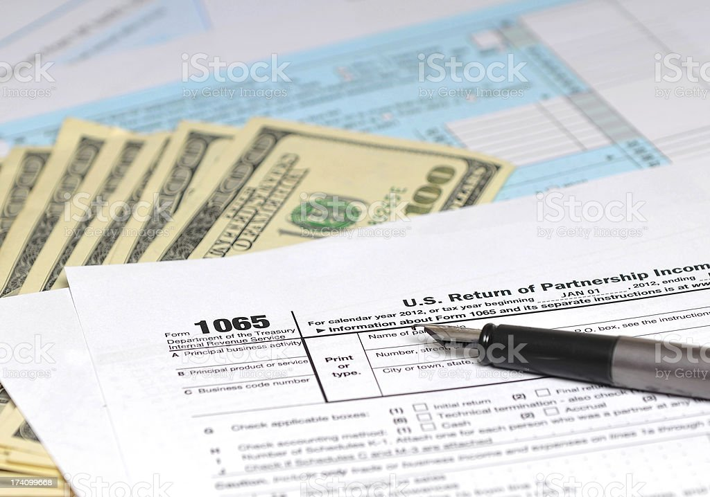 IRS tax form 1065 - Partnership income return taxation royalty-free stock photo
