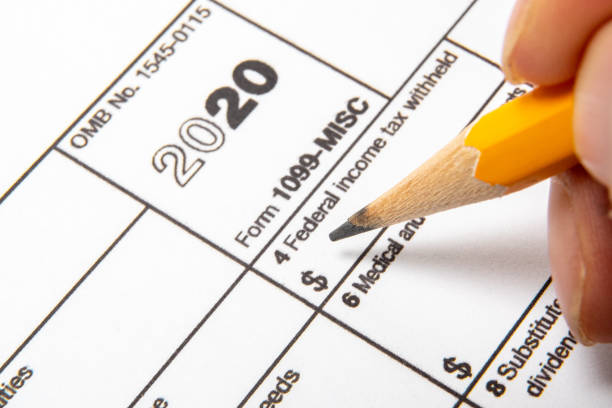 Tax Form 1099-misc on a white background. stock photo