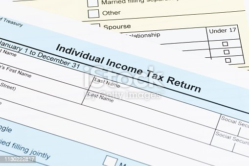 istock Tax form; document are mock-up 1130222817