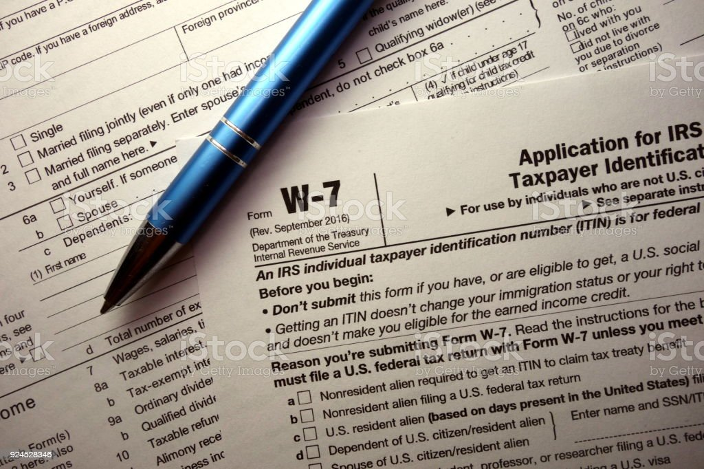 W-7 tax form for non-US citizens stock photo