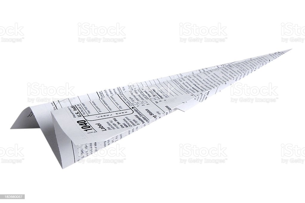 Tax Form Paper Airplane - White Background stock photo