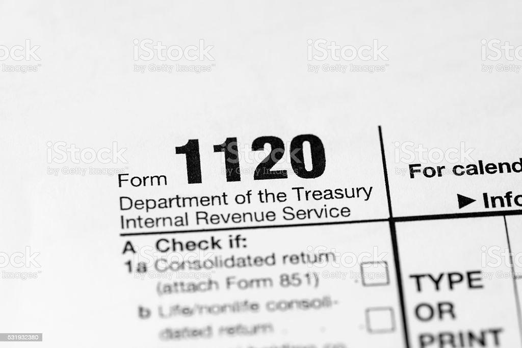 US 1120 tax form stock photo