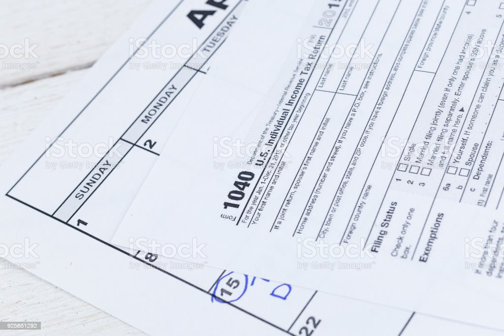 1040 Tax Form Us Individual Income Tax Return Form Stock Photo