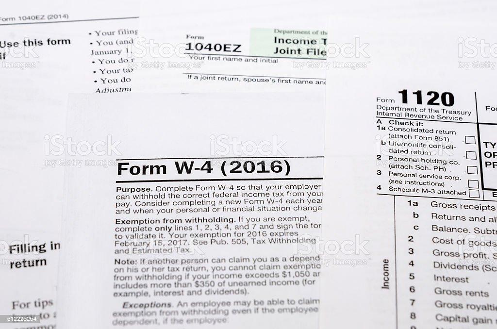 Tax Form W4 1040 1120 Stock Photo Istock