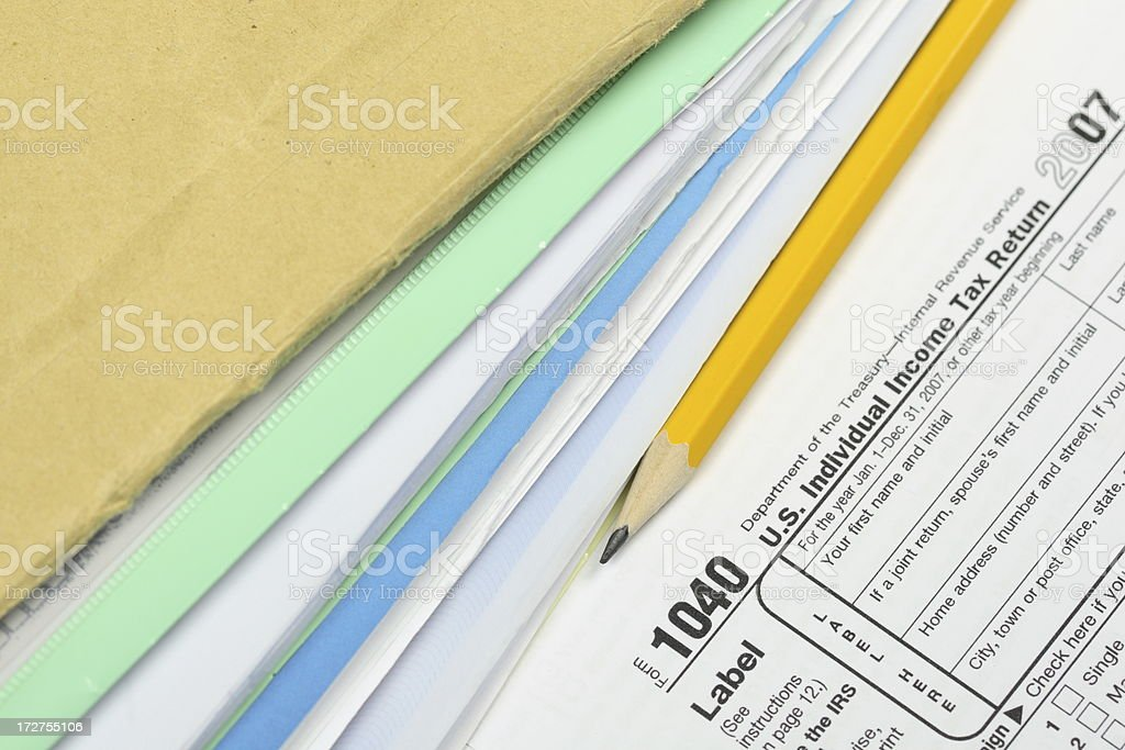 Tax form with Documents royalty-free stock photo