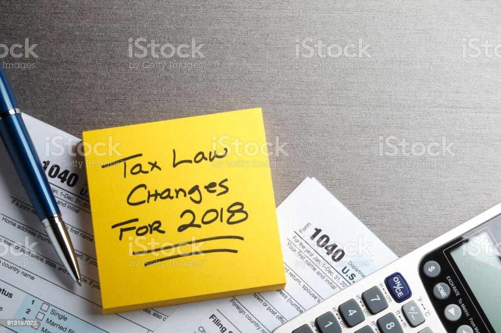 Formulaire d'impôt avec rappel des nouvelles lois fiscales attachées - Photo