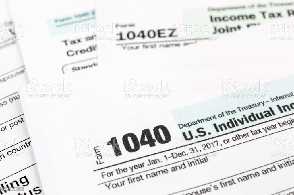 Tax forms 1040. Close up. stock photo