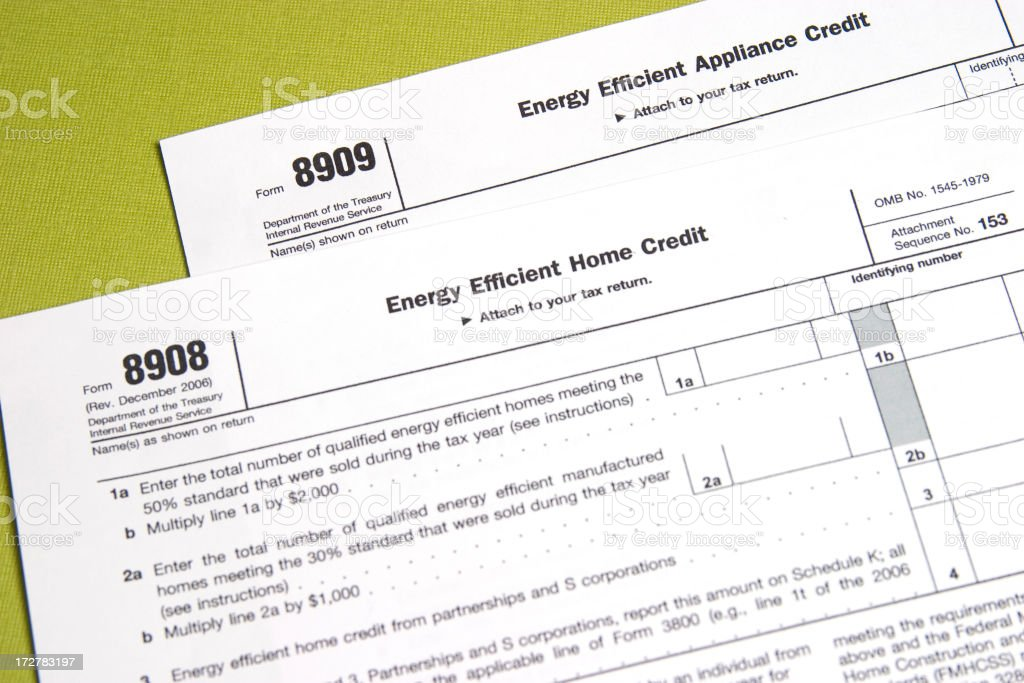 US Tax Forms - Energy Efficiency Credits stock photo