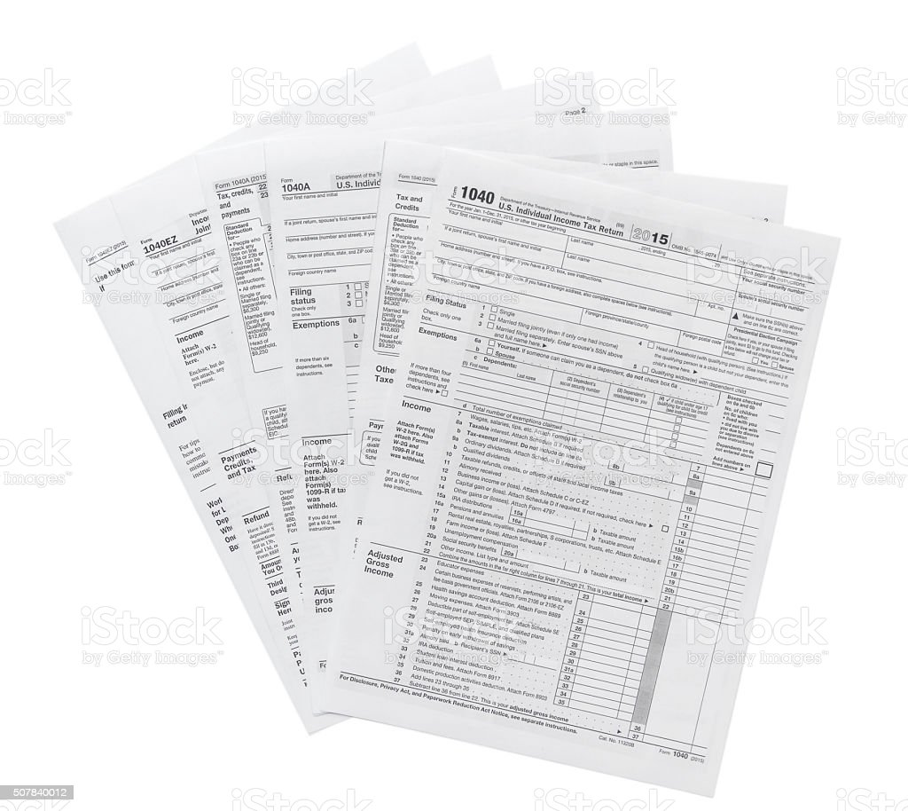 Tax forms isolated on white stock photo
