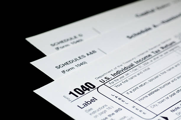 Tax Forms on Black stock photo