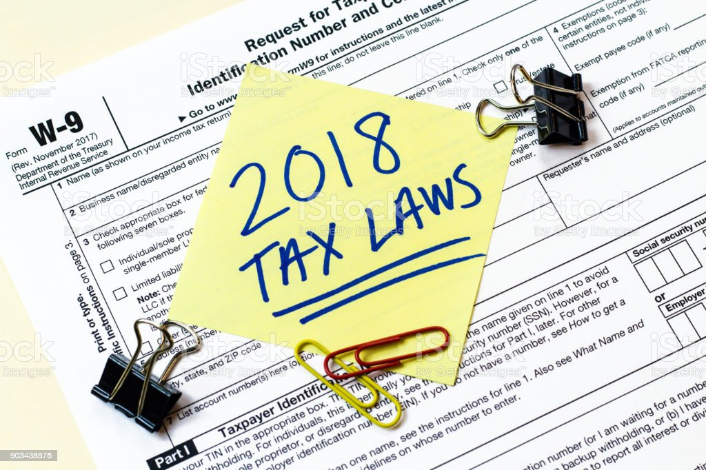 W9 2018 Tax Laws Concept stock photo